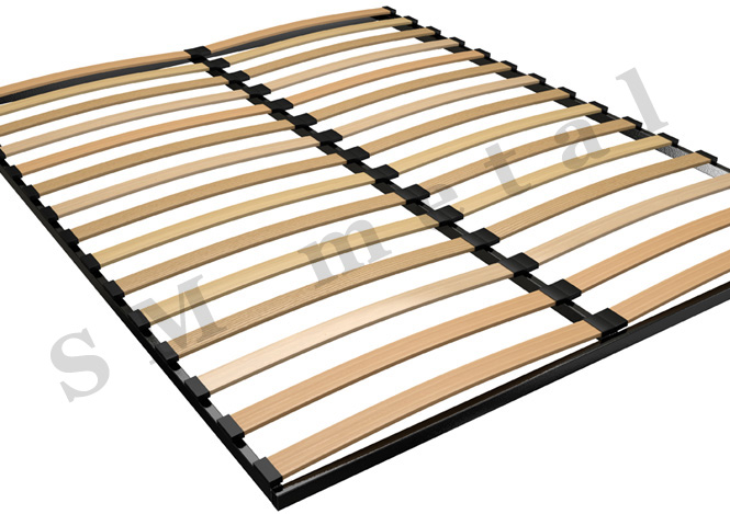Double Standard Bed Frame with Wooden Slats